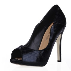 Women's Leatherette Stiletto Heel Sandals Peep Toe shoes (085016471)