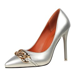 Donna Pelle verniciata Tacco a spillo Stiletto Punta chiusa con Catenina scarpe (085114798)