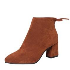Frauen Veloursleder Stämmiger Absatz Absatzschuhe Stiefel Stiefelette mit Reißverschluss Schuhe (088144428)
