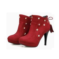 Frauen Wildleder Stöckel Absatz Plateauschuh Stiefelette mit Niete Quaste Schuhe (088097471)