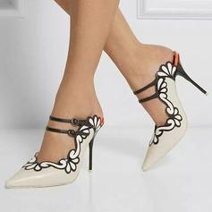 Donna Similpelle Tacco a spillo Sandalo Stiletto Punta chiusa Con cinturino con Fibbia scarpe (085171515)