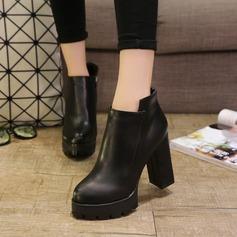 Frauen PU Stämmiger Absatz Plateauschuh Stiefel Stiefelette mit Reißverschluss Schuhe (088137076)