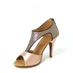 Donna Raso Glitter scintillanti Tacchi Sandalo Latino con Con Listino a T Scarpe da ballo (053026471)