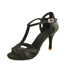 De mujer Satén Brillo Chispeante Tacones Sandalias Danza latina con Tira T Zapatos de danza (053016432)
