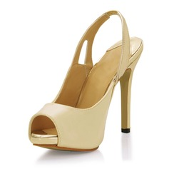 Kvinnor Konstläder Stilettklack Peep Toe Sandaler Slingbacks (047016975)