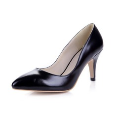 Patent Leather Spool Heel Pumps Closed Toe shoes (085038753)