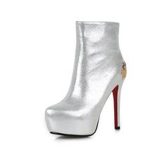 Frauen Echtleder Stöckel Absatz Plateauschuh Stiefelette mit Pailletten Schuhe (088071284)