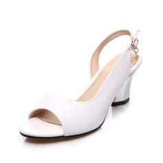 Aitoa nahkaa Chunky heel Sandaalit Kantiohihnakengät kengät (087062771)