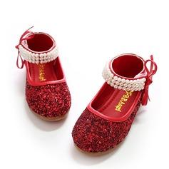 Mädchens Geschlossene Zehe funkelnden Glitter Flache Ferse Flache Schuhe Blumenmädchen Schuhe mit Bowknot Nachahmungen von Perlen Funkelnde Glitzer Klettverschluss (207112601)