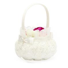 Bella Cesto di fiori in Raso con Bianco Organza Rosa (102049627)
