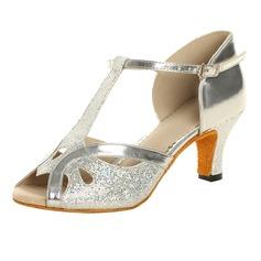 Kvinnor Glittrande Glitter Lackskinn Klackar Sandaler Latin med T-Rem Dansskor (053021494)