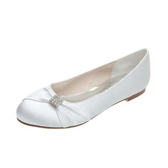 Women's Satin Flat Heel Closed Toe Flats With Bowknot Rhinestone (047053925)