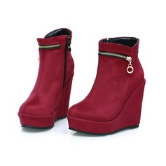 Frauen Veloursleder Keil Absatz Plateauschuh Keile Stiefelette mit Reißverschluss Schuhe (088098640)