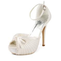 Kvinder Blonde Slebet Stiletto Hæl Platform Sandaler med Sløjfeknude Spænde (047011801)