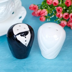 Bride & Groom Ceramic Salt & Pepper Shakers With Ribbons/Tag (Set of 2 pieces) (051005574)