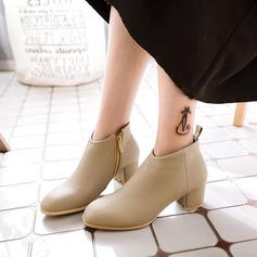 Frauen Kunstleder Stämmiger Absatz Stiefel Stiefelette mit Reißverschluss Schuhe (088125615)