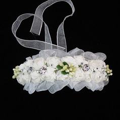 Lovely Tulle/Paper Flowers & Feathers With Rhinestone (042025232)