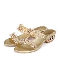 Женщины Натуральня кожа Низкий каблук Сандалии Мэри Джейн Beach Wedding Shoes с горный хрусталь (047125408)