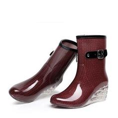 Donna PVC Zeppe Zeppe Stivali Stivali altezza media Stivali da pioggia con Fibbia Cerniera Tacchi ingioiellati scarpe (088127030)