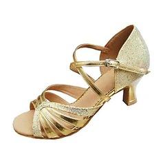 Kvinnor Konstläder Glittrande Glitter Klackar Sandaler Latin Dansskor (053013347)