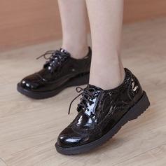Kvinner Lær Flat Hæl Flate sko Lukket Tå med Blondér sko (086134596)