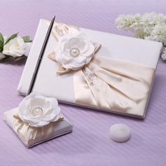 Elegant Faux-Perlen/Blume Gästebuch & Schreibset (101037361)