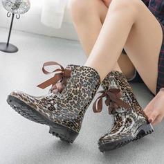 Frauen PVC Niederiger Absatz Stiefel Stiefel-Wadenlang Regenstiefel mit Zuschnüren Schuhe (088127048)