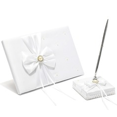Classic Faux Pearl/Bow Guestbook & Pen Set (101018154)