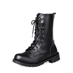Frauen PU Niederiger Absatz Stiefel Stiefel-Wadenlang mit Zuschnüren Schuhe (088137078)