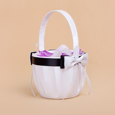Elegant Flower Basket in Satin With Bow (102018042)