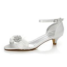 Frauen Satin Niederiger Absatz Sandalen Färbbare Schuhe mit Bowknot Strass (047088669)