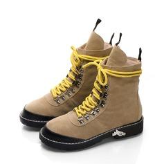 Frauen Veloursleder Flascher Absatz Flache Schuhe Stiefel Stiefelette Schneestiefel mit Zuschnüren Schuhe (088140020)