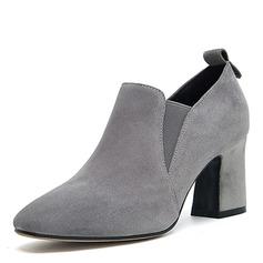 Donna Camoscio Tacco spesso Stiletto Punta chiusa con Fascia di gomma scarpe (085172790)