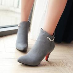 Frauen Veloursleder Stöckel Absatz Absatzschuhe Stiefel Stiefelette mit Strass Reißverschluss Schuhe (088137539)
