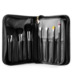Artificial Fibre Charming 15Pcs Black PU Bag Makeup Supply (046074568)