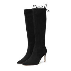 De mujer Ante Tacón stilettos Salón Cerrados Botas a la rodilla con Cordones zapatos (088191408)