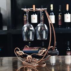 Diseño Floral Acero inoxidable/Enchapado Titular de la botella / estante del vino (052095641)