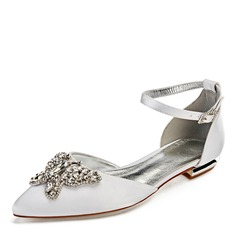 Women's Leatherette Flat Heel Closed Toe Flats With Crystal (047192755)