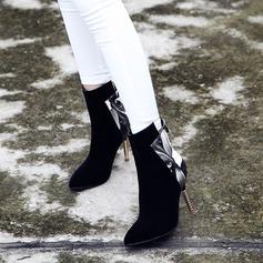 Frauen Veloursleder PU Stöckel Absatz Absatzschuhe Stiefel Stiefel-Wadenlang mit Reißverschluss Schmuckabsatz Schuhe (088130798)
