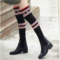 Frauen PU Stämmiger Absatz Stiefel Stiefel über Knie mit Zweiteiliger Stoff Schuhe (088132776)