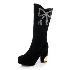Frauen Wildleder Stämmiger Absatz Stiefel Stiefelette mit Strass Schuhe (088093541)