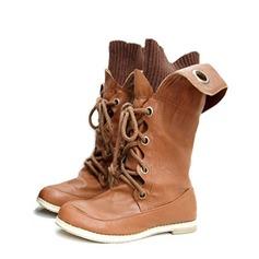 Similpelle Senza tacco Stivali altezza media Stivali da equitazione con Allacciato scarpe (088059492)