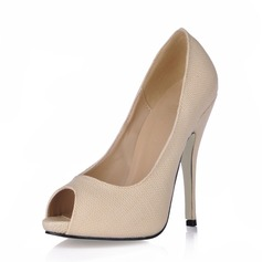 Leatherette Stiletto Heel Sandals Peep Toe shoes (085017001)