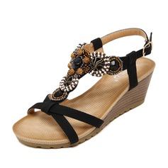 Naisten Keinonahasta Wedge heel Sandaalit Kiilat Peep toe Kantiohihnakengät jossa Tekojalokivi kengät (087087966)