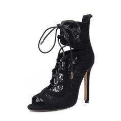 Frauen Veloursleder Lace Stöckel Absatz Absatzschuhe Stiefel Peep Toe Stiefelette mit Reißverschluss Zuschnüren Schuhe (088151841)