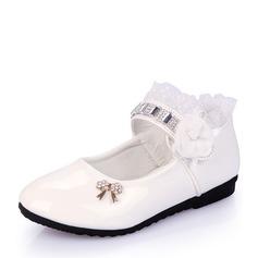 Mädchens Geschlossene Zehe Leder Flache Ferse Flache Schuhe mit Bowknot Strass Satin Schleife Geraffte (207112563)