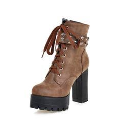 Frauen PU Stämmiger Absatz Absatzschuhe Plateauschuh Stiefel mit Niete Reißverschluss Zuschnüren Schuhe (088137533)