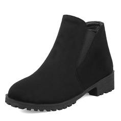 Frauen Veloursleder Niederiger Absatz Stiefel Stiefel-Wadenlang mit Gummiband Schuhe (088172960)