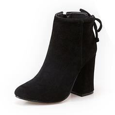 Frauen Veloursleder Stöckel Absatz Stiefel Stiefelette Schuhe (088098560)