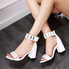 Vrouwen Kunstleer Chunky Heel Sandalen Peep Toe met Strass schoenen (087124612)